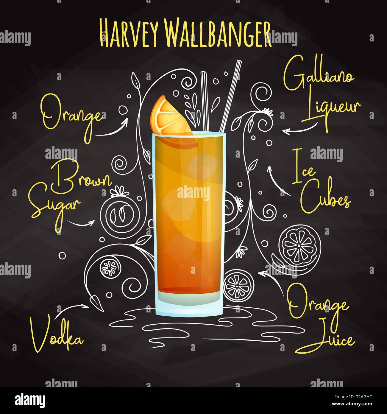 Simple recipe for an alcoholic cocktail Harvey Wallbanger. Drawing chalk on a blackboard. Vector illustration Stock Vector