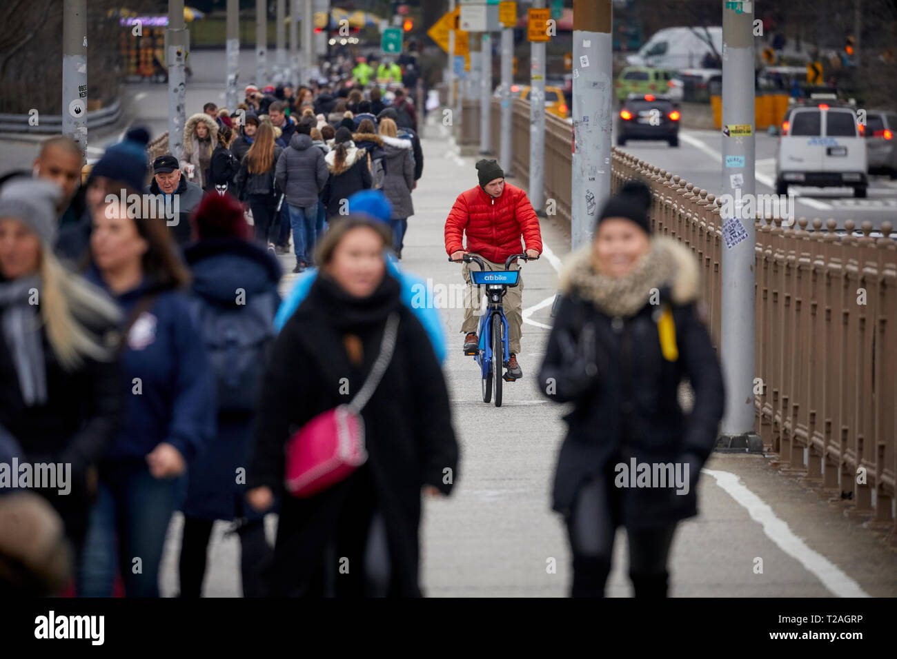 Cyclists biking over  Brooklyn Bridge  Manhattan, New York in dedicated cycle lane as tourists walk in their lane Stock Photo