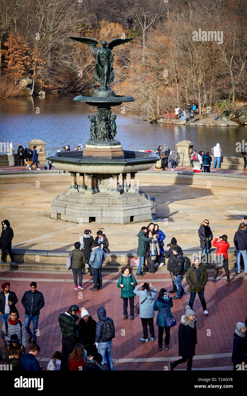 New York Manhattan Central Park Bethesda Terrace and Fountain overlook The Boating Lake Stock Photo