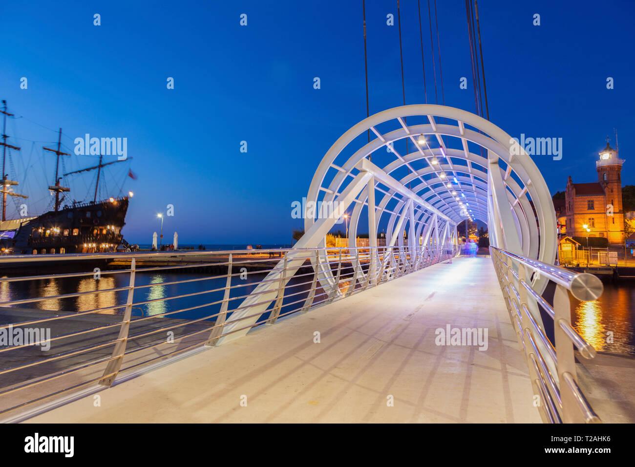 Pedestrian bridge in Ustka, Poland Stock Photo