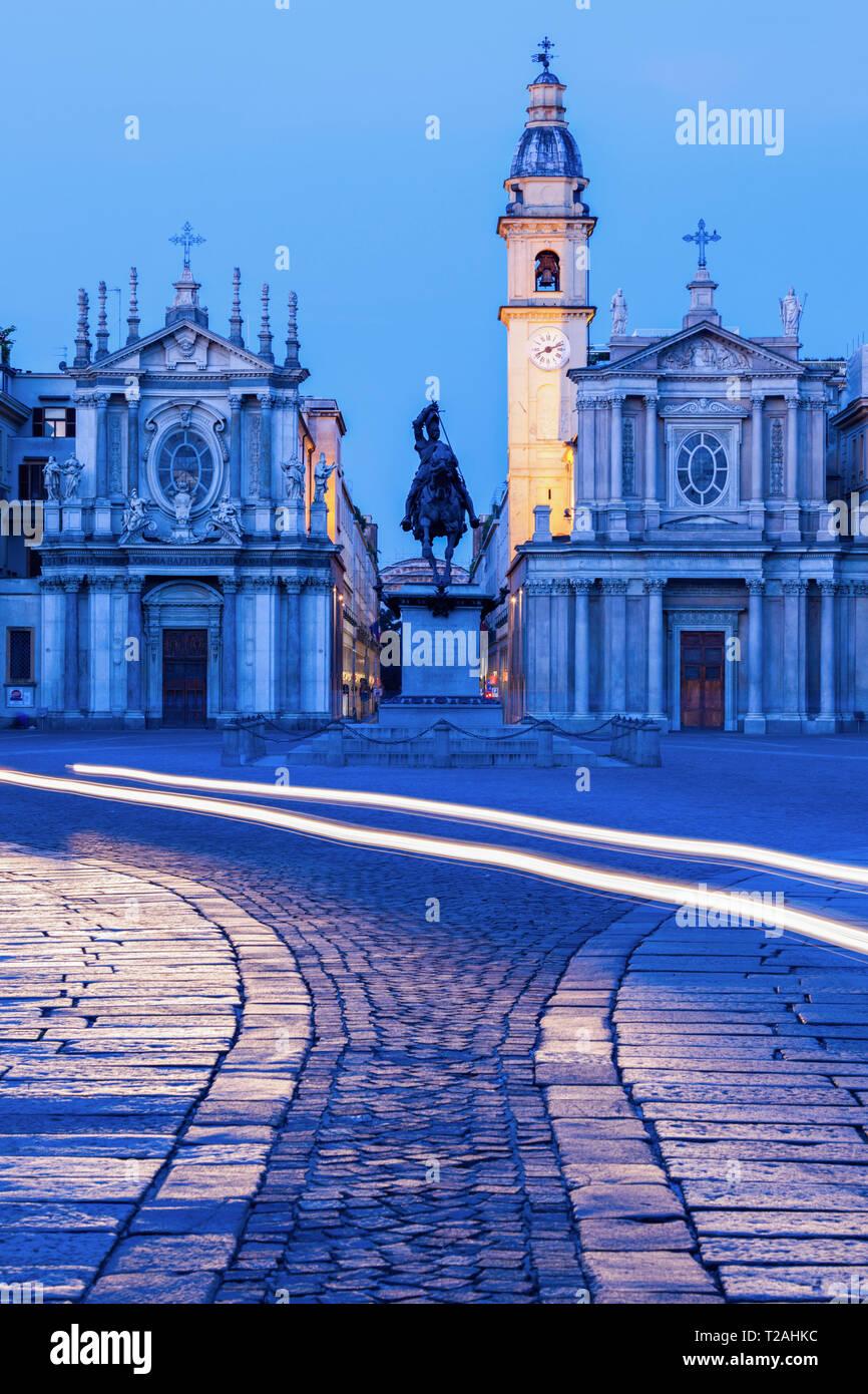 Santa Cristina and San Carlo churches at Piazza San Carlo in Turin, Italy - Stock Image