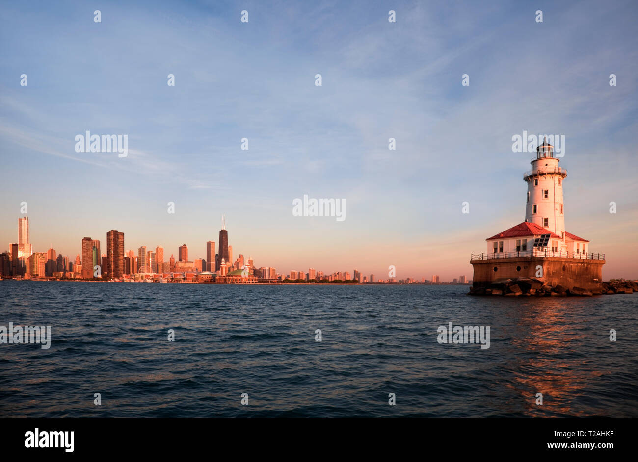 Chicago Harbor Lighthouse at sunrise in Chicago, Illinois, USA - Stock Image