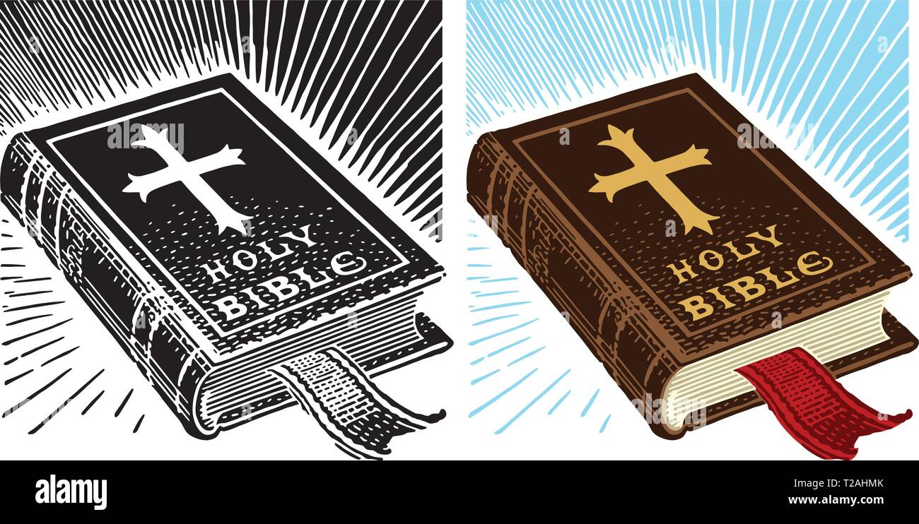 An illustration of a leather-bound Christian holy bible - Stock Vector