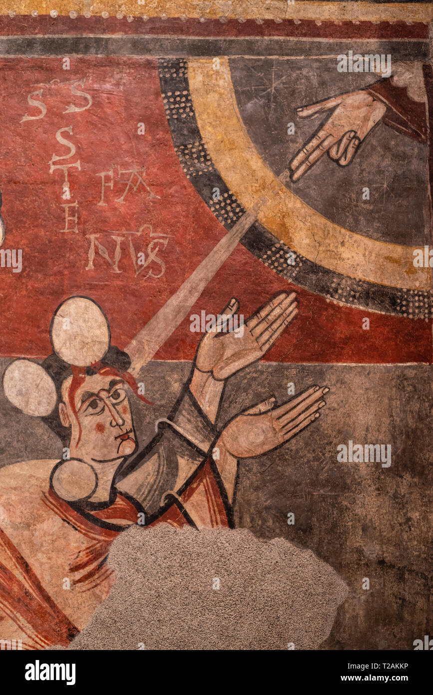 Romanesque art in the National Art Museum of Catalonia,Barcrelona,Church of Sant Joan de Boí, La Vall de Boí, LLeida,Lapidation of Saint Stephen . - Stock Image