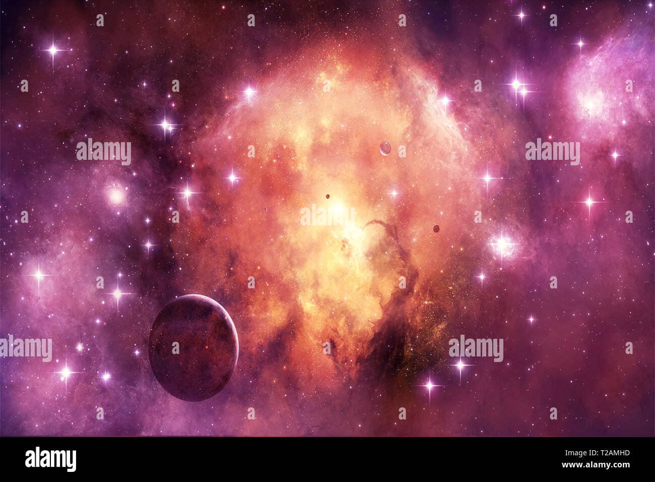 Abstract Artistic Beautiful Colorful Galaxy In A Magenta Nebula Space With Planets And Bright Stars Stock Photo Alamy