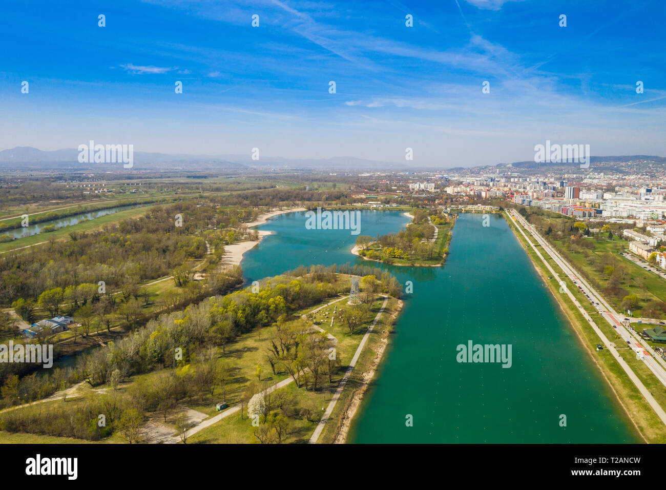 Zagreb Croatia Jarun Lake Beautiful Green Recreation Park Area Sunny Spring Day Panoramic View From Drone City In Background Stock Photo Alamy