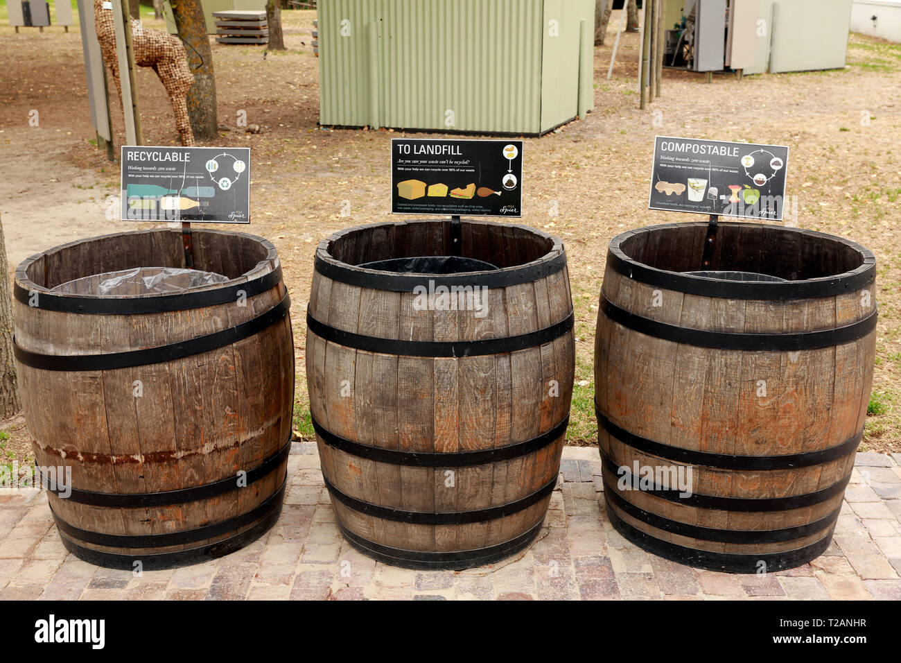Refuse bins in wine crates for recycling, composting and landfill at  Spier Wine Farm , Stellenbosch, Western Cape Province, South Africa. - Stock Image