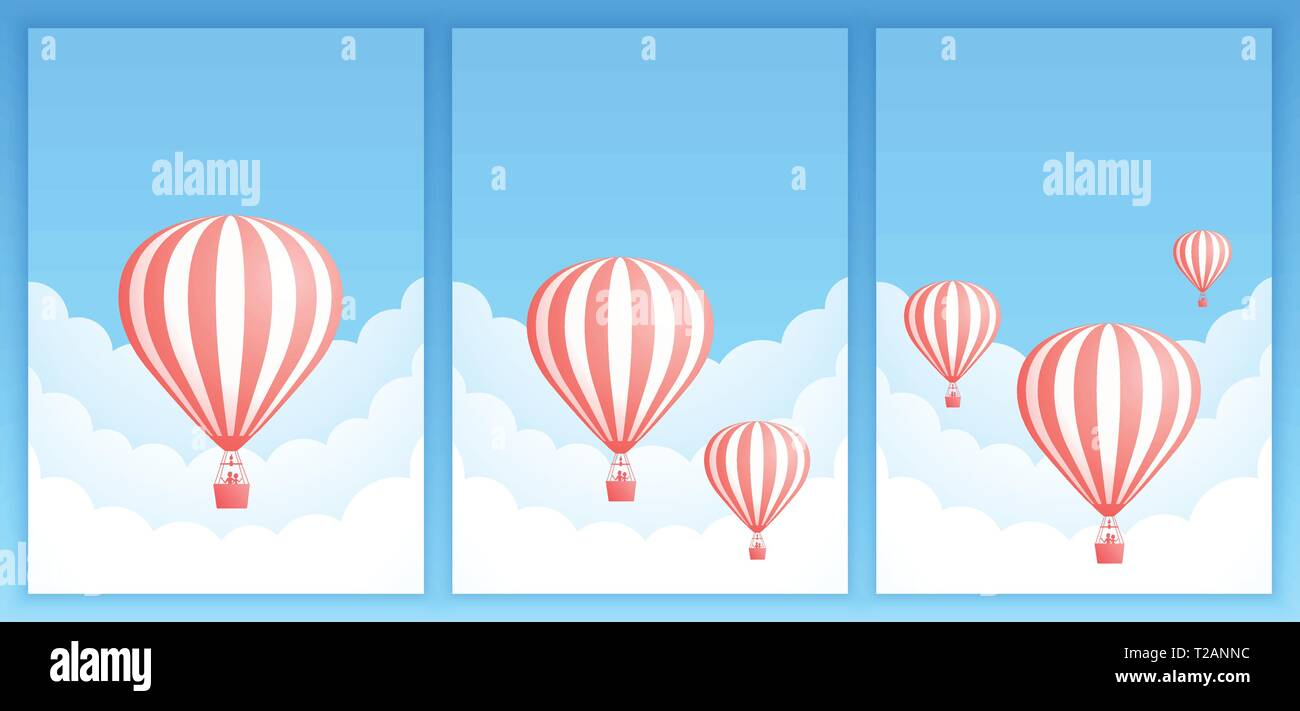 Hot Air Balloon Cloud Scape Vector Illustration Collection Of