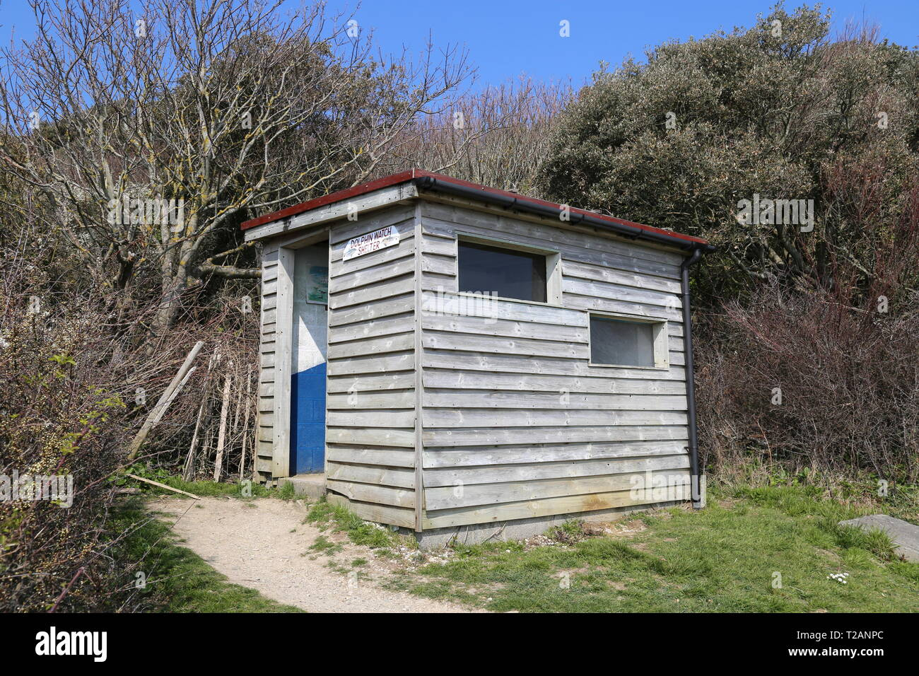 Dolphin Watch shelter, Durlston Country Park, Swanage, Isle of Purbeck, Dorset, England, Great Britain, United Kingdom, UK, Europe - Stock Image