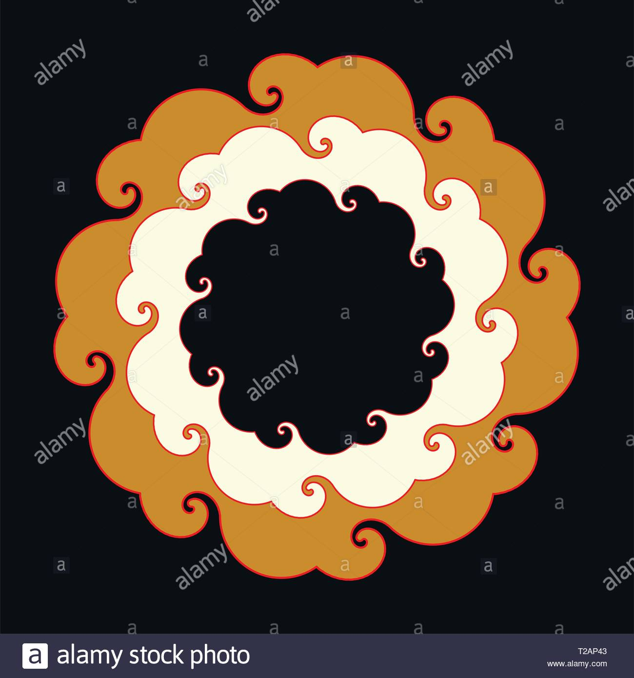 curly round clouds frame in ivory gold black shades - Stock Vector