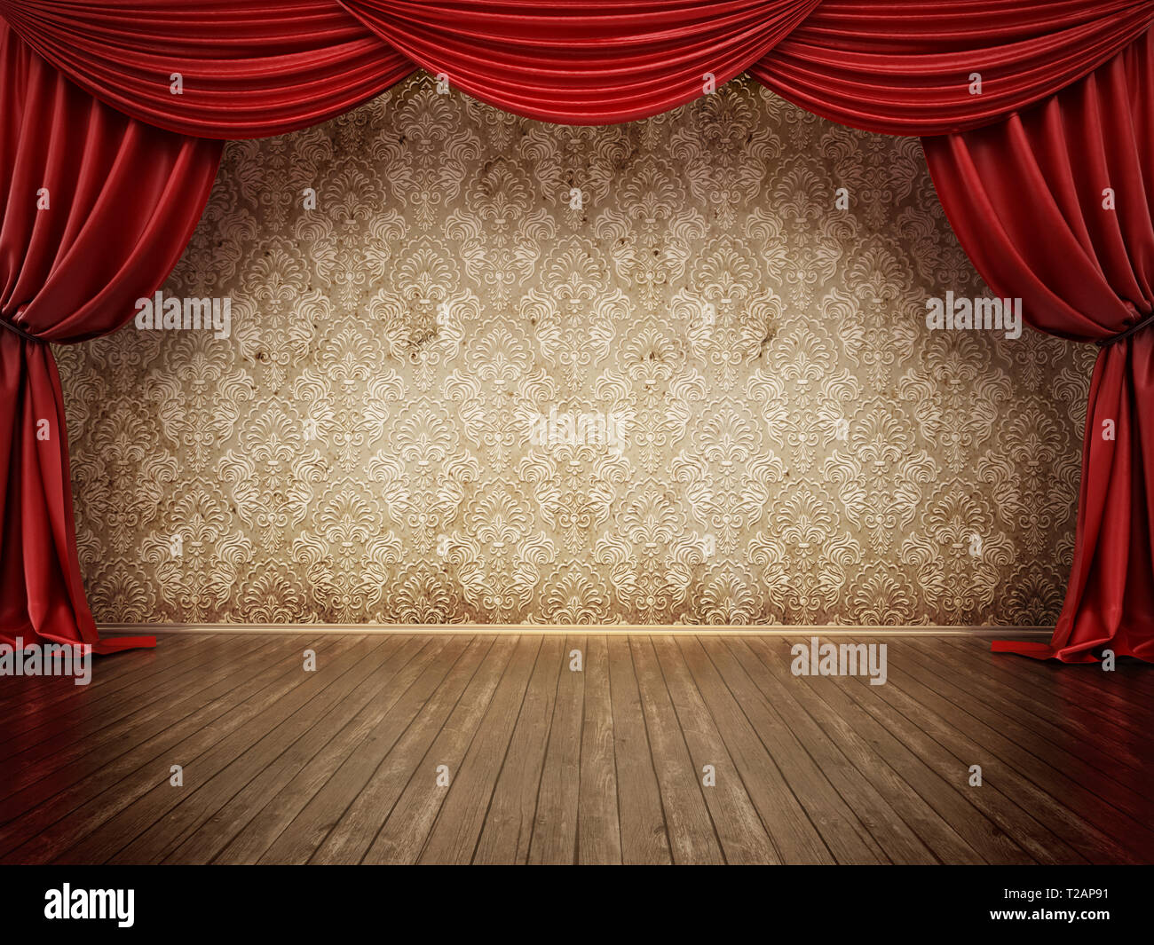 Theater stage with red curtain and parquet ground  3D