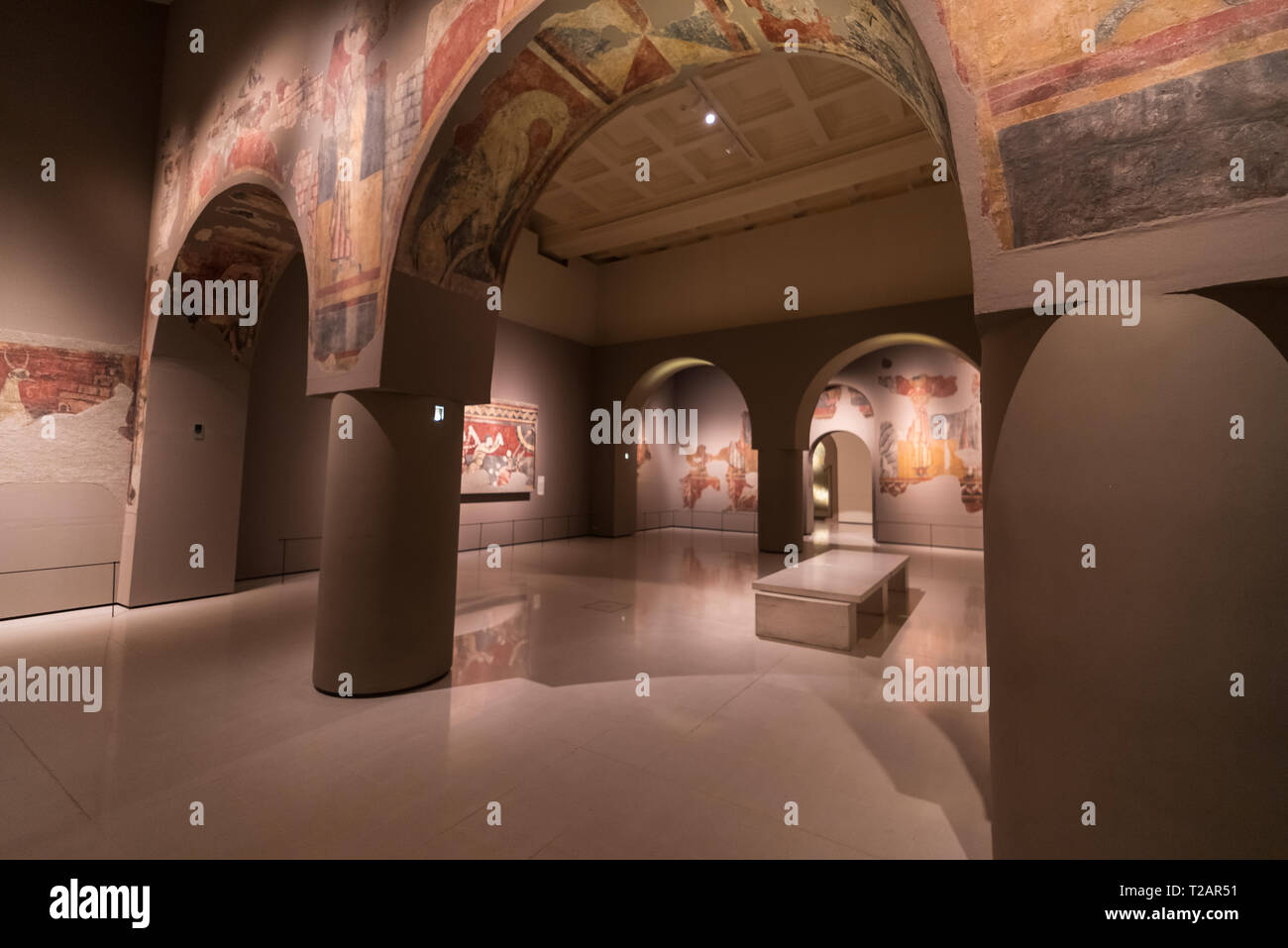 Romanesque art in the National Art Museum of Catalonia,Barcrelona,Church of Sant Joan de Boí, La Vall de Boí, LLeida. - Stock Image