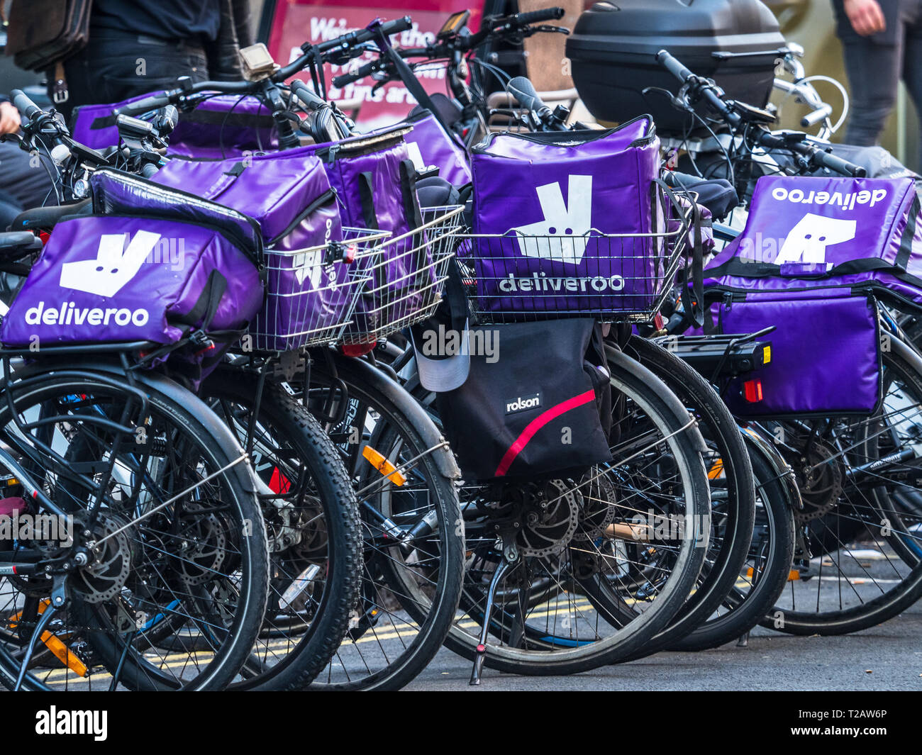 2441d201d0a Deliveroo Food Delivery Courier Bikes parked up in Central London ...