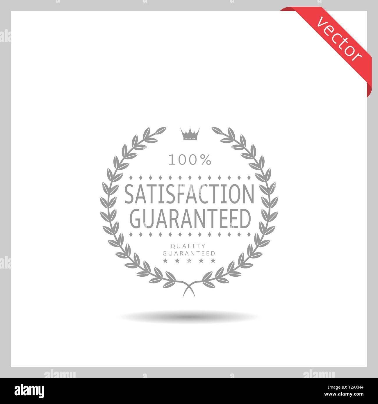 Satisfaction guaranteed icon. Laurel wreath label badge isolated, Vector illustration - Stock Vector