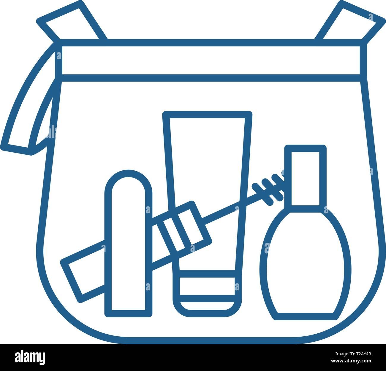 dd2949d6e81 Makeup bag flat vector symbol, sign, outline illustration