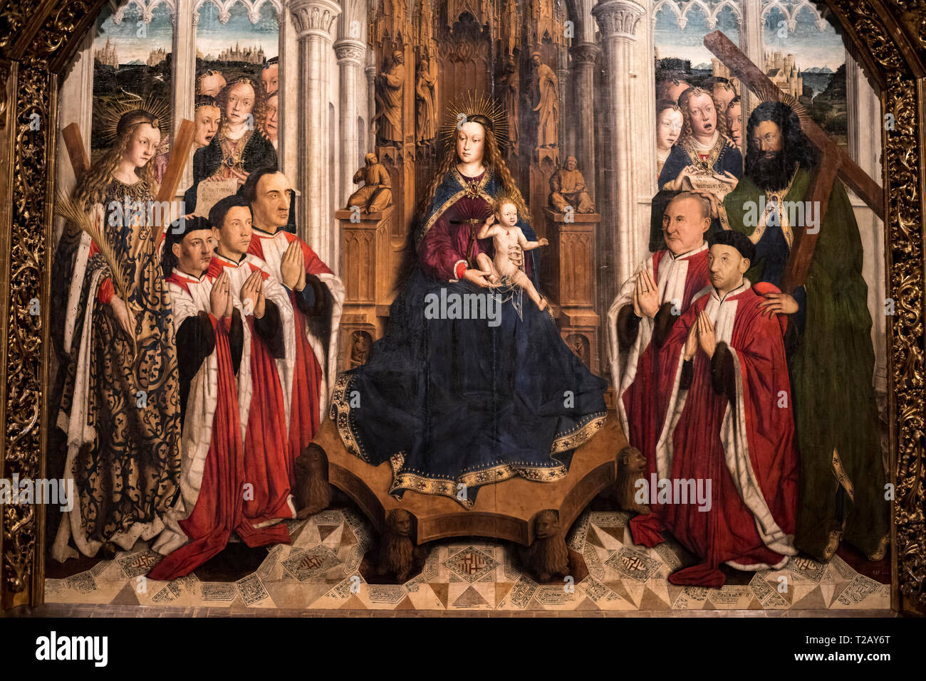 Gothic medieval art in the National Art Museum of Catalonia,Barcelona,Spain.Lluís Dalmau painter, Mare de Déu dels consellers (1443-1445) - Stock Image