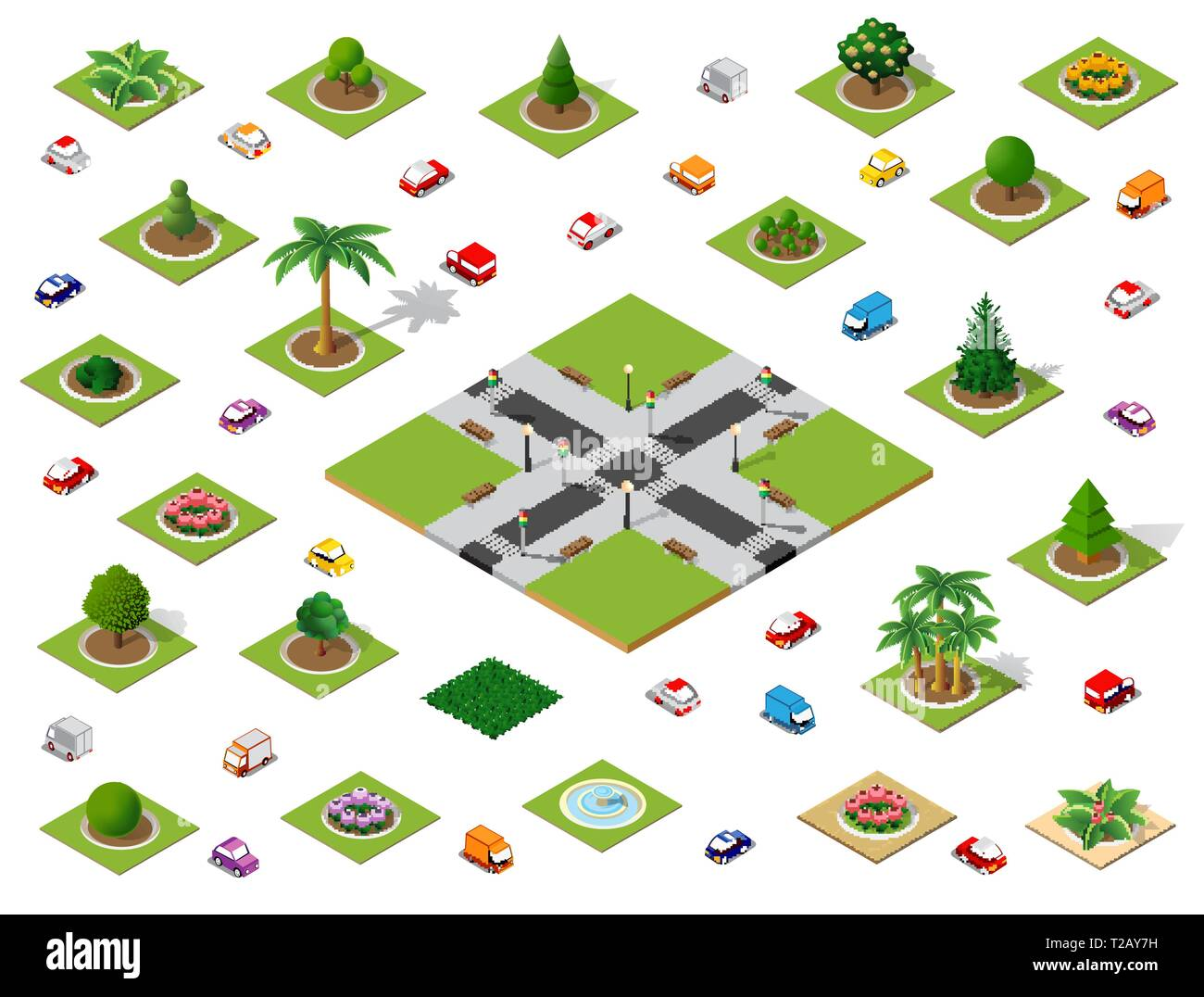 Crossroads set city street road traffic cars. Infrastructure landscapes urban economy. Stock Vector