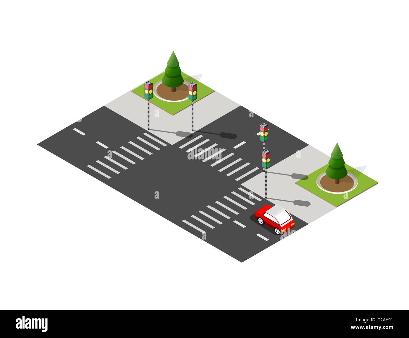 Crossroads city street road traffic cars. Infrastructure landscapes urban economy. Stock Vector