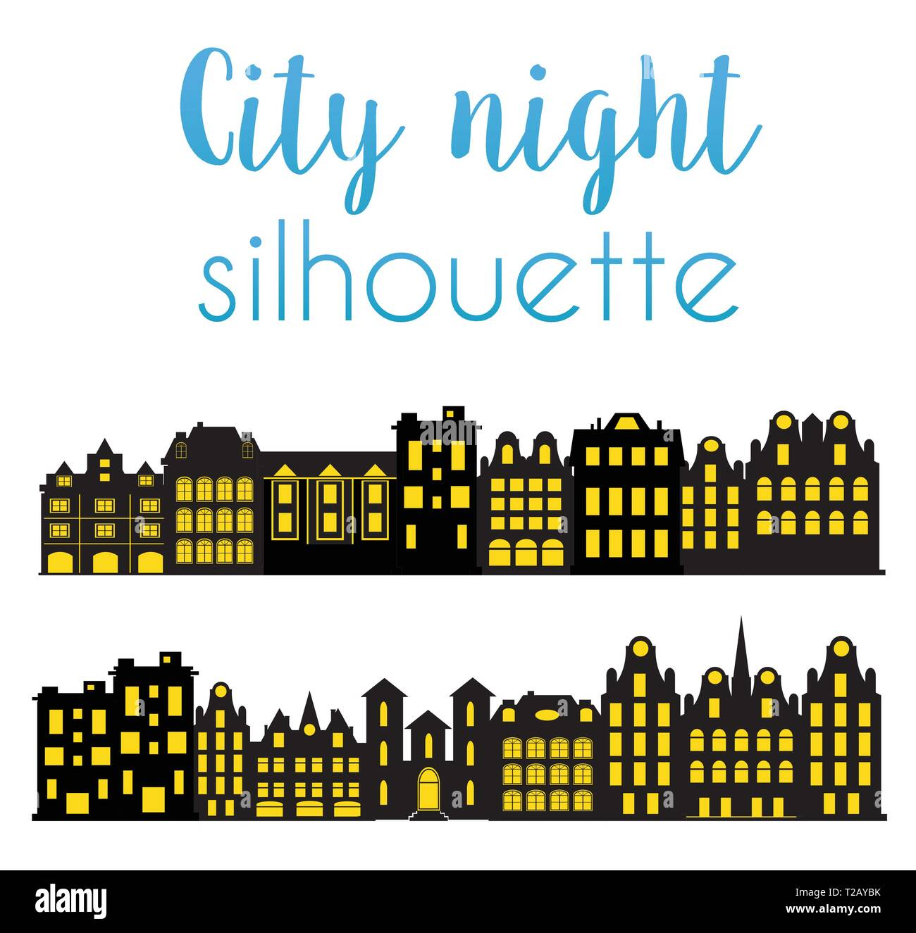 Night silhouette of the city with houses and windows. - Stock Image
