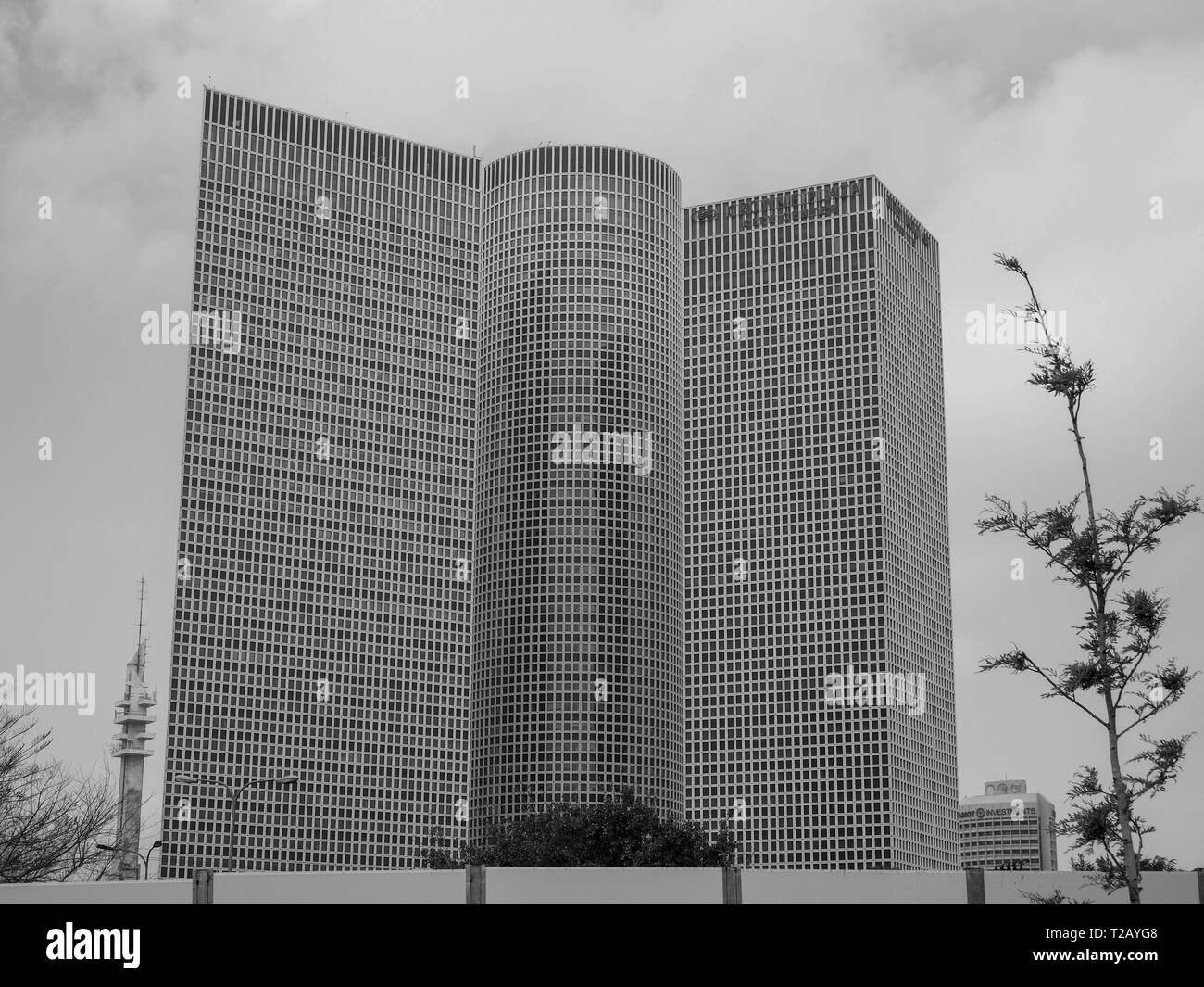 Azrieli towers. Modern, glass faced High rise buildings in Tel Aviv, Israel - Stock Image