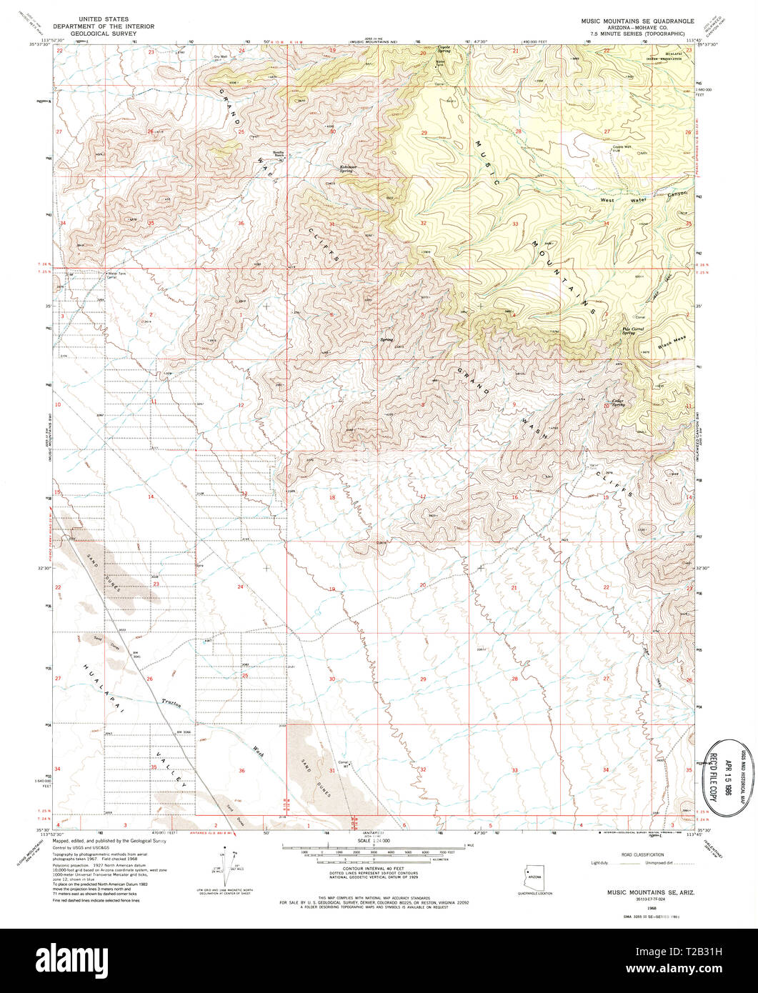 USGS TOPO Map Arizona AZ Music Mountains SE 312568 1968 24000 ...