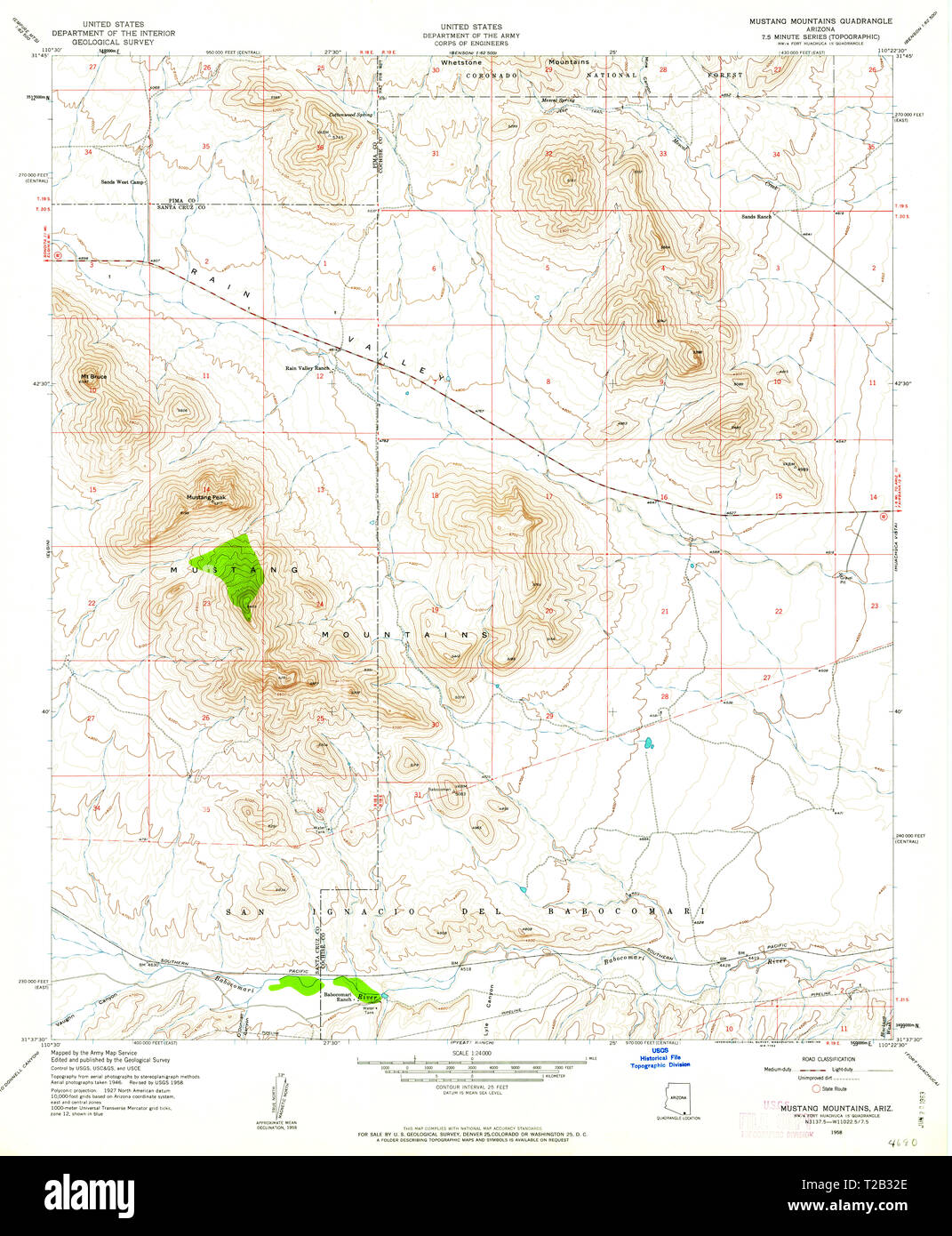 USGS TOPO Map Arizona AZ Mustang Mountains 312576 1958 24000 ...