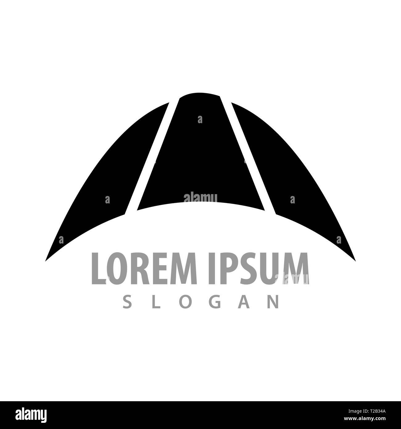 Black crescent up concept design. Symbol graphic template element Stock Vector