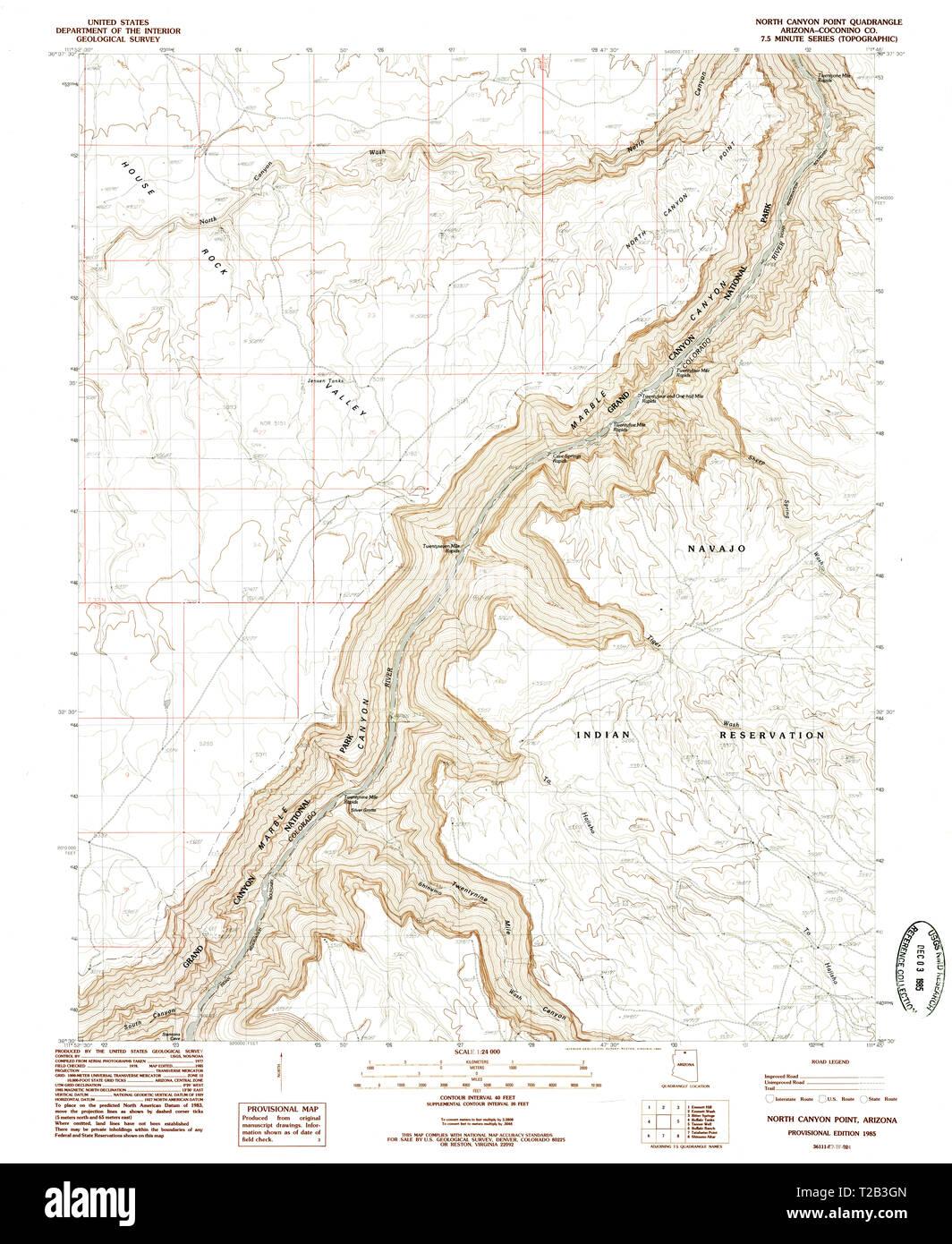 Map Of North Arizona.Usgs Topo Map Arizona Az North Canyon Point 312654 1985 24000