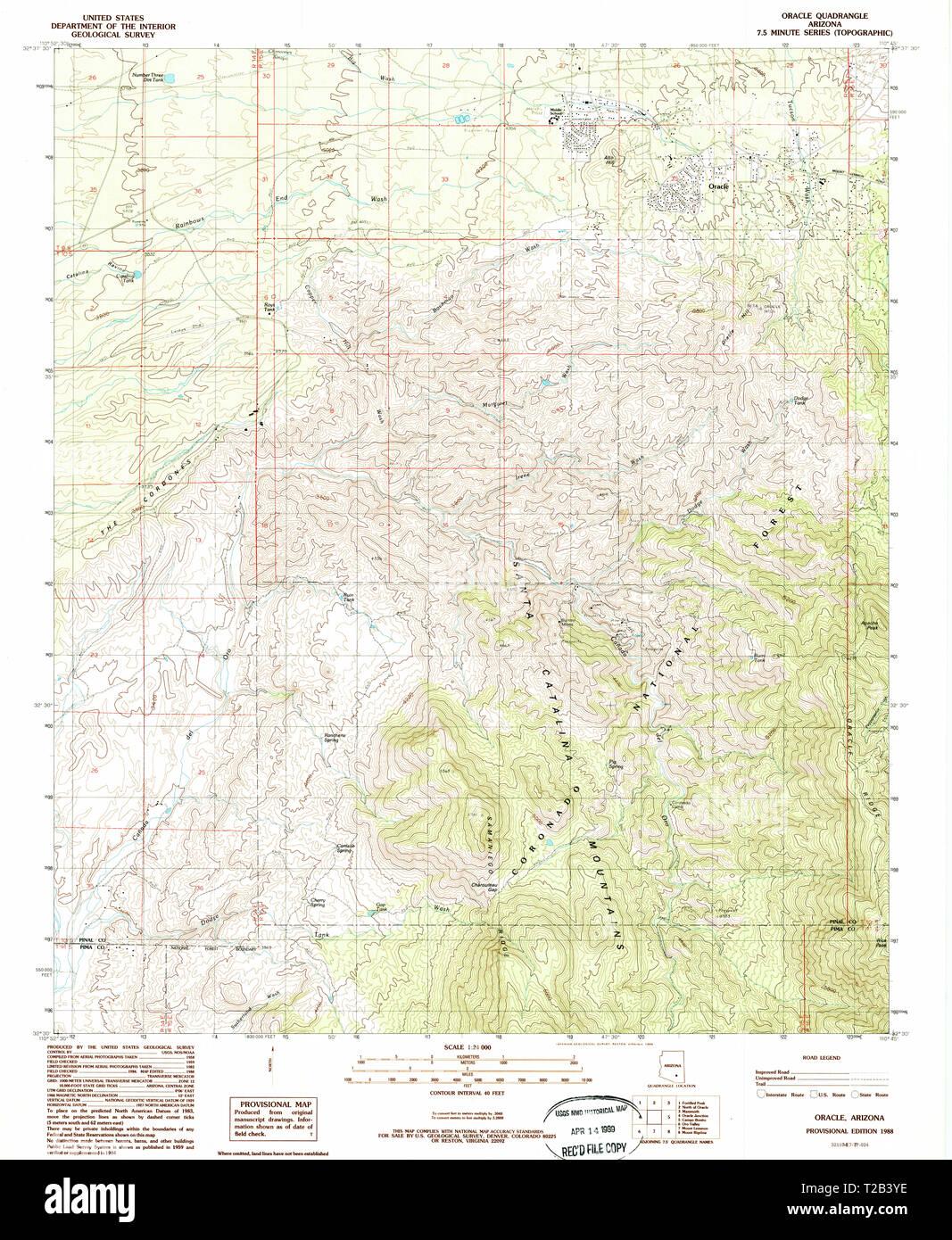 Map Of Oracle Arizona.Usgs Topo Map Arizona Az Oracle 312709 1988 24000 Restoration Stock