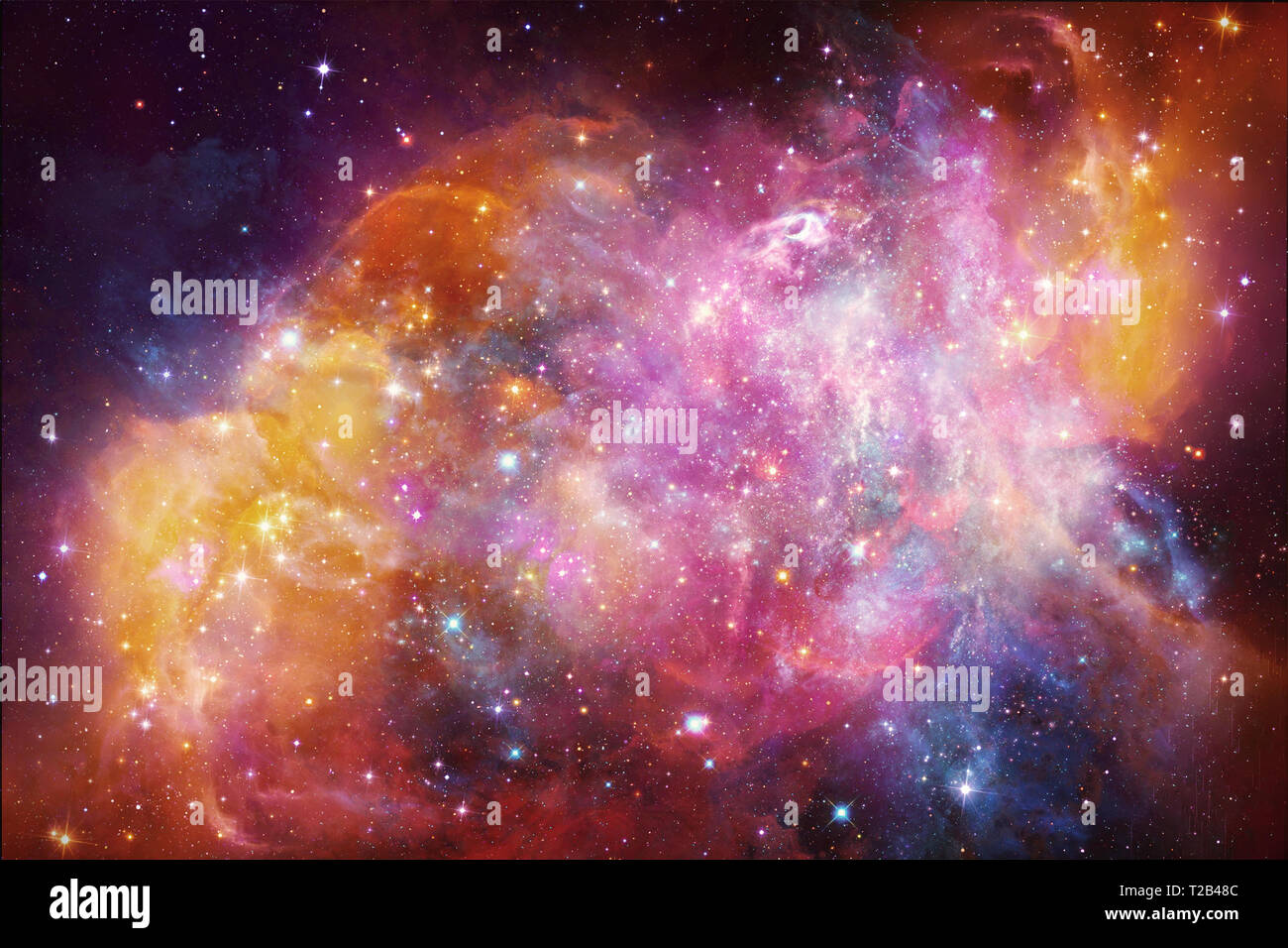 Abstract Beautiful Multicolored Galaxy Artwork In Outer Space