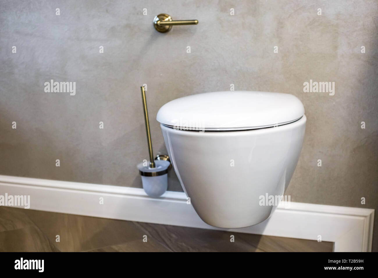toilet and detail of a corner shower bidet with wall mount shower attachment - Stock Image