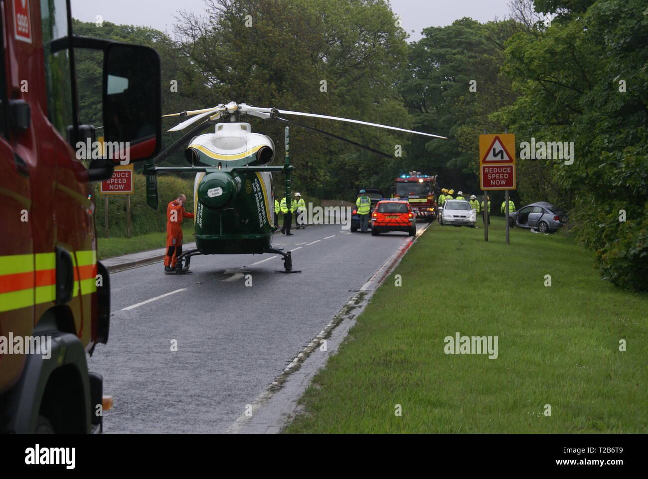 car crash victim, Helicopter Medivac - Stock Image
