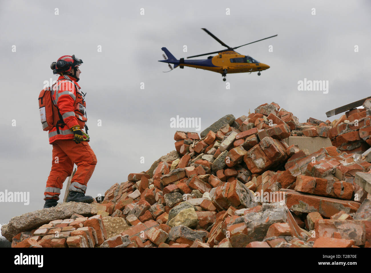 USAR incident, disaster zone, building collapse - Stock Image