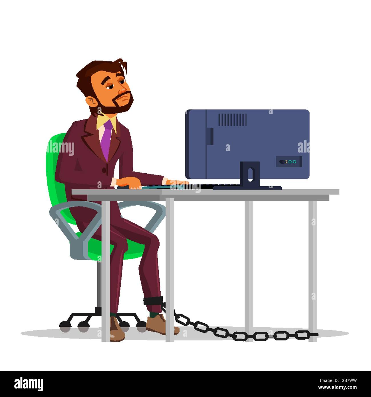 Indian Chained Businessman Working On Laptop At Table Vector Flat Cartoon Illustration - Stock Vector