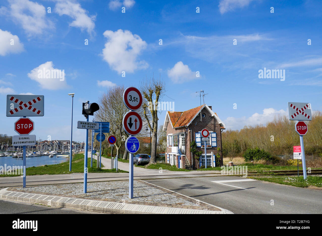 Hauling way, Saint-Valery, Bay of Somme, Somme, Haut-de-France, France - Stock Image