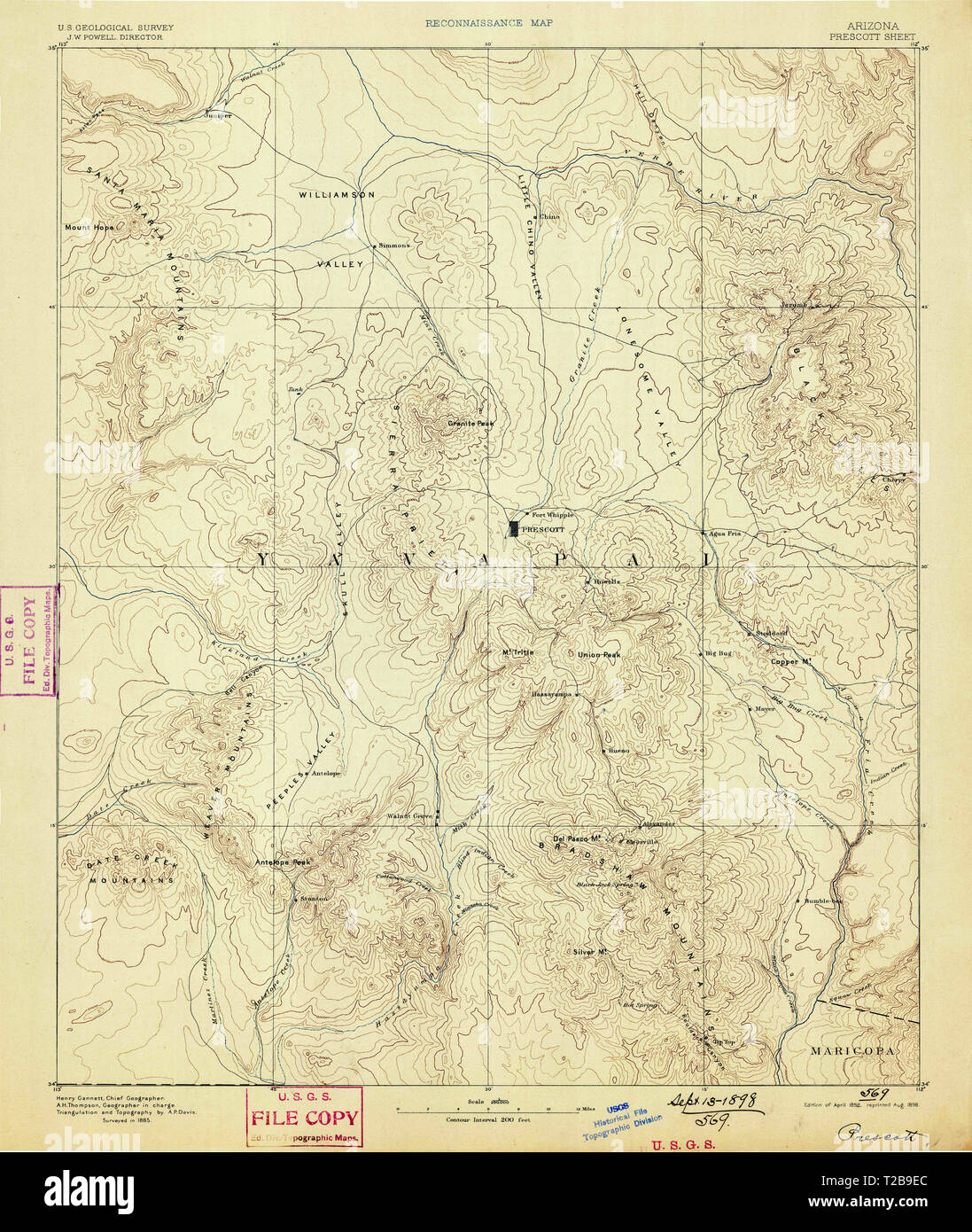 Map Of Arizona Prescott.Usgs Topo Map Arizona Az Prescott 315581 1892 250000 Restoration