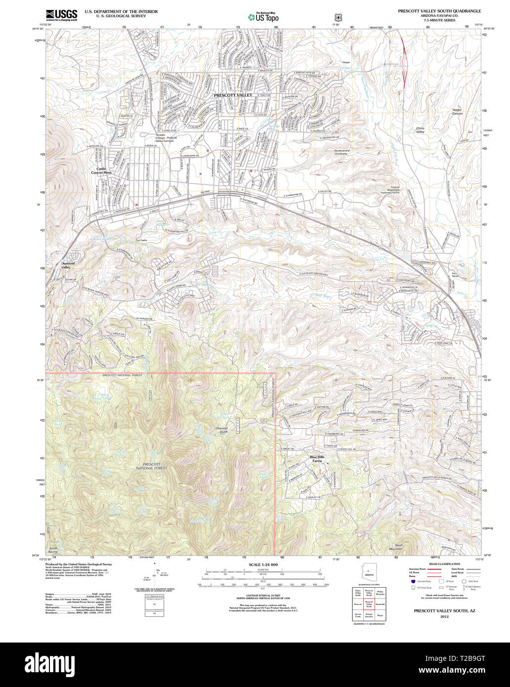 Map Of Arizona Prescott.Usgs Topo Map Arizona Az Prescott Valley South 20120518 Tm