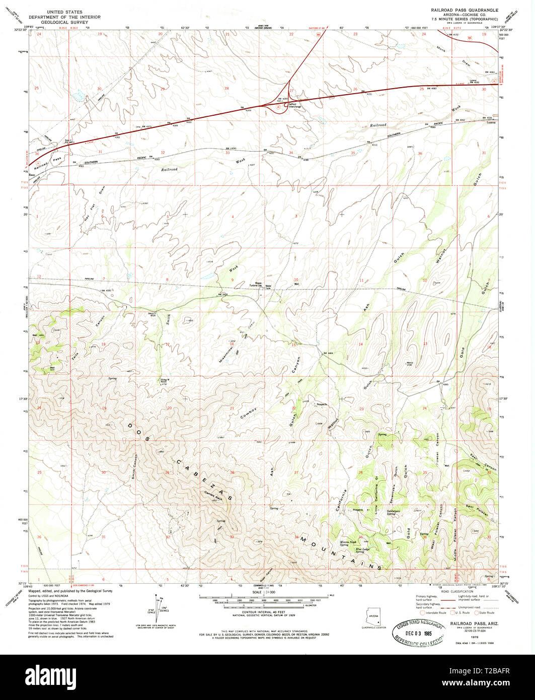 Map Of Arizona Railroads.Usgs Topo Map Arizona Az Railroad Pass 313030 1979 24000 Restoration