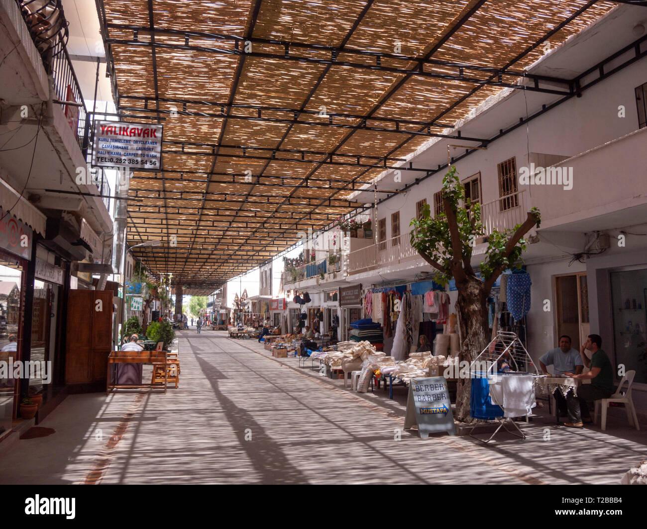 Turkey Bodrum Peninsula Mugle Province Bamboo Sunshade Roofing Covers The Main Street Of Yalikavak Stock Photo Alamy