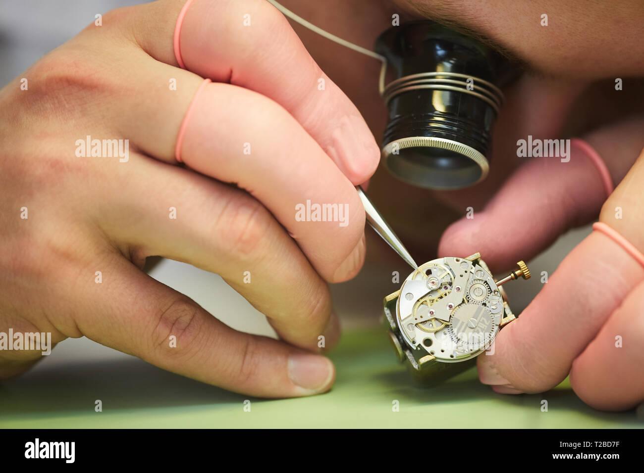 Clockmaker Closeup - Stock Image