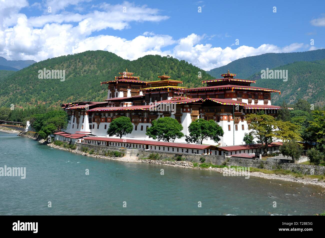 Punakha Palace, Bhutan, Punakha-Dzong, Palace of Happiness, Buddhist Monastery Castle, Six-Story-Structure, Administrative Center, District Punakha - Stock Image