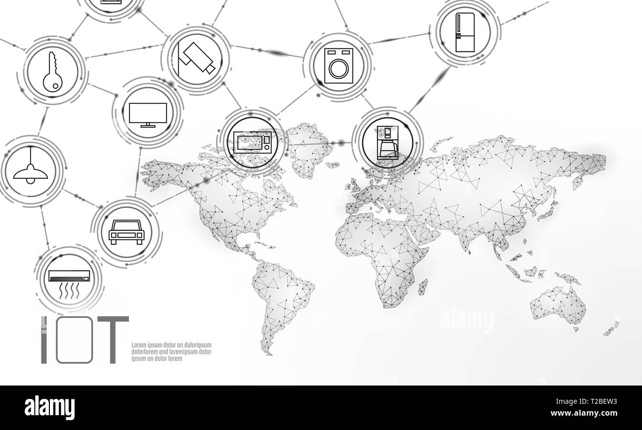 White space planet Earth internet of things icon innovation technology concept. Wireless communication network IOT ICT. Intelligent system automation - Stock Image