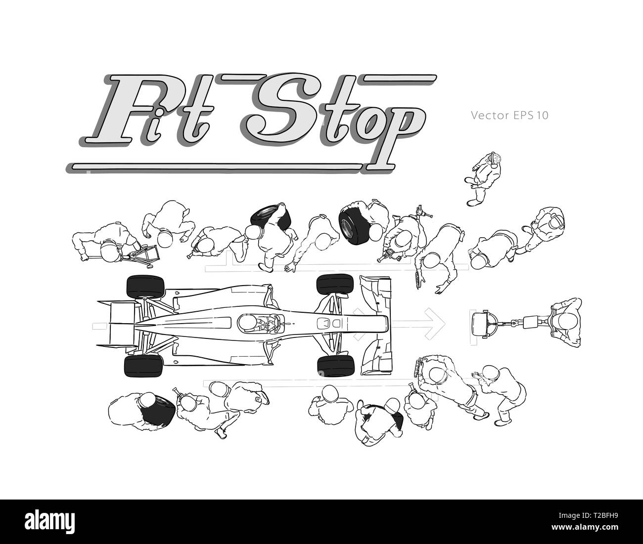 Formula race car in pit stop vector sketch - Stock Vector