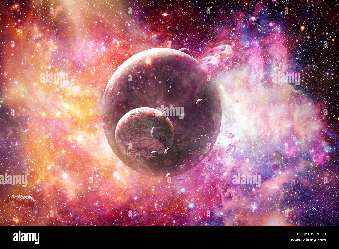 Abstract Artistic Beautiful Colorful Galaxy In A Multicolored Nebula Space With A Planet With It S Moon And Bright Stars Stock Photo Alamy