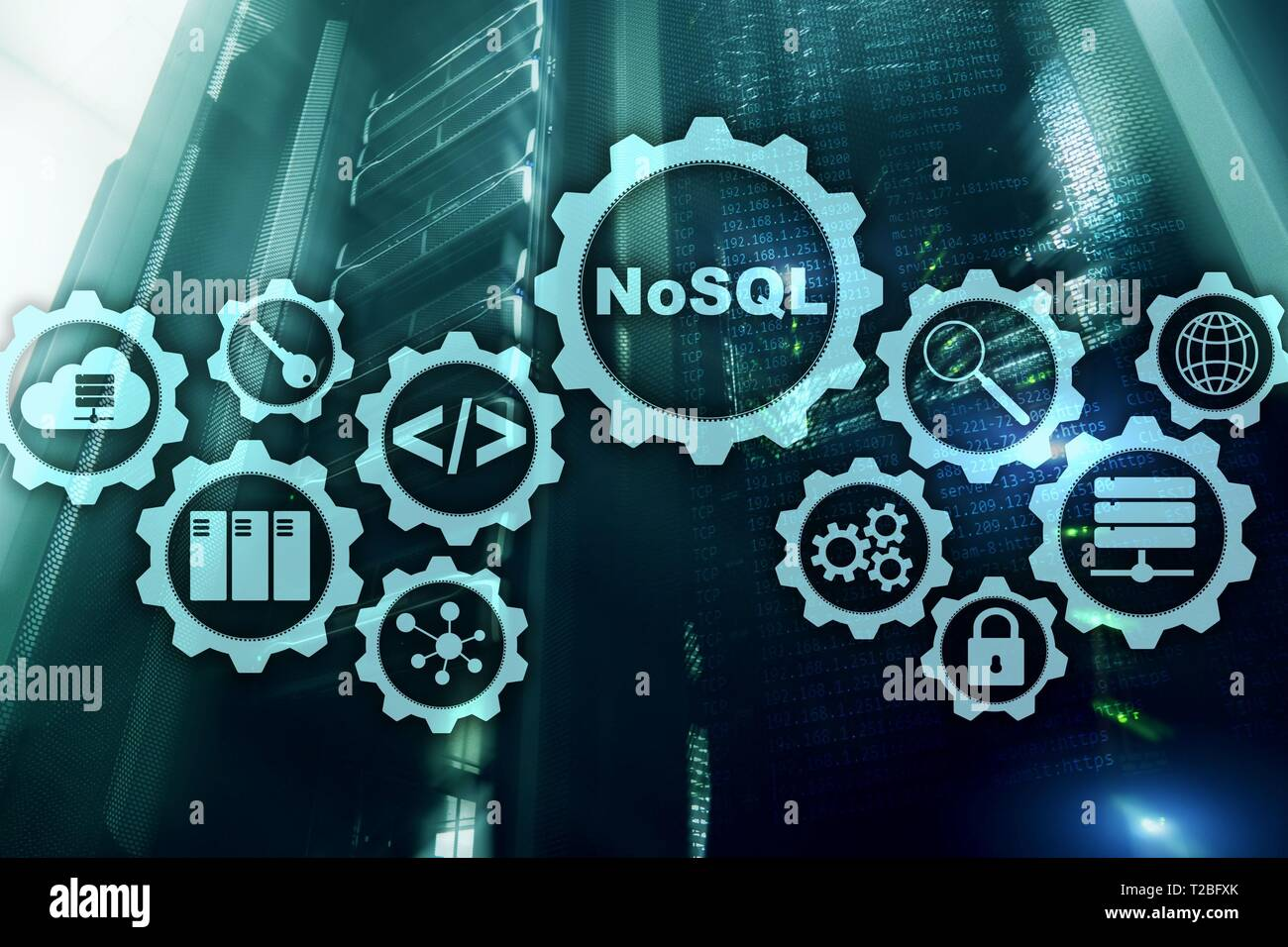 NoSQL. Structured Query Language. Database Technology Concept. Server room background. - Stock Image