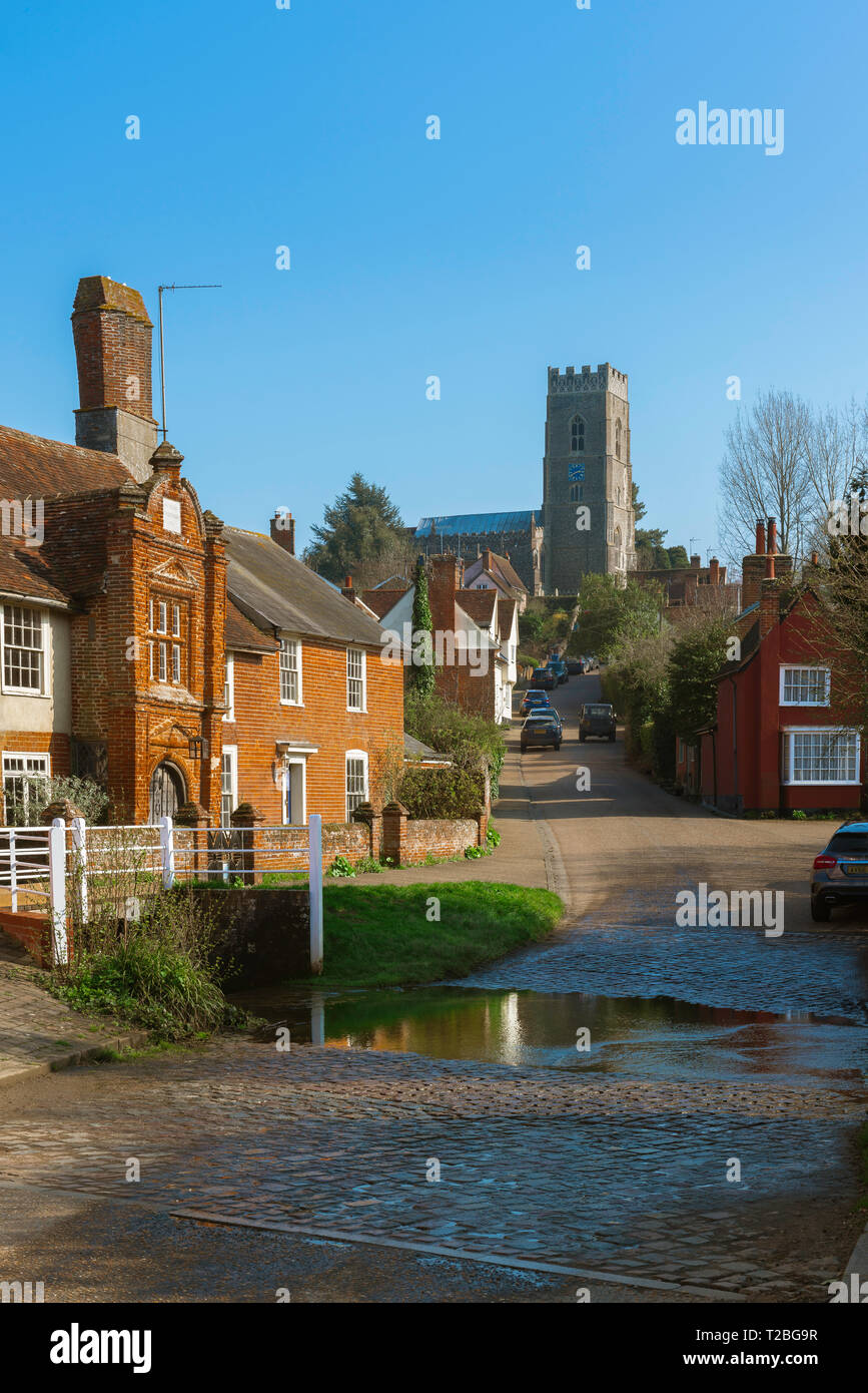 Kersey village, view of The Street in the centre of Kersey village, with its famous ford or 'splash' in the foreground, Suffolk, England, UK. - Stock Image