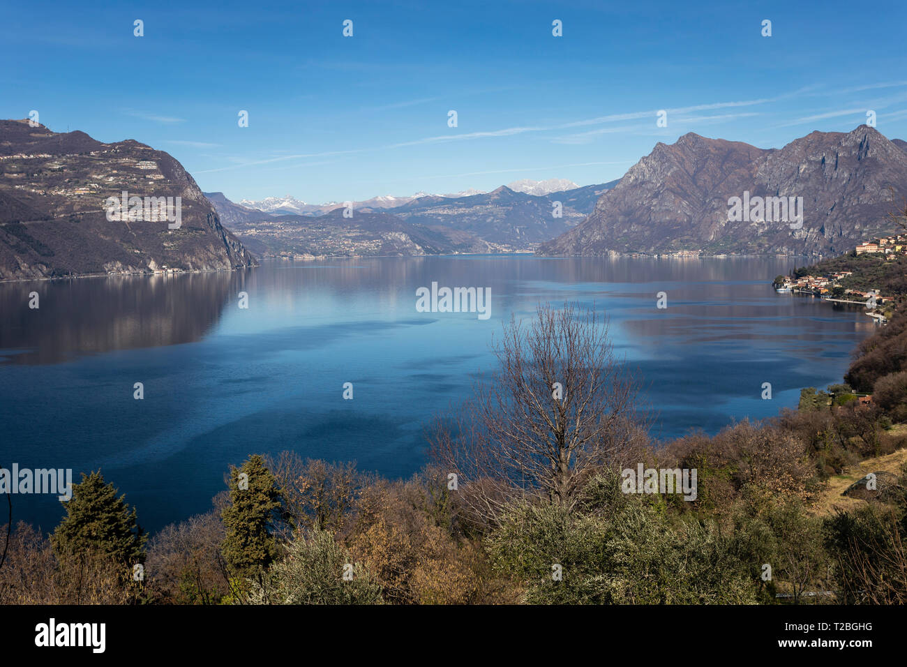 Leke Iseo seen from Monte Isola island, Lombardy, Italy - Stock Image