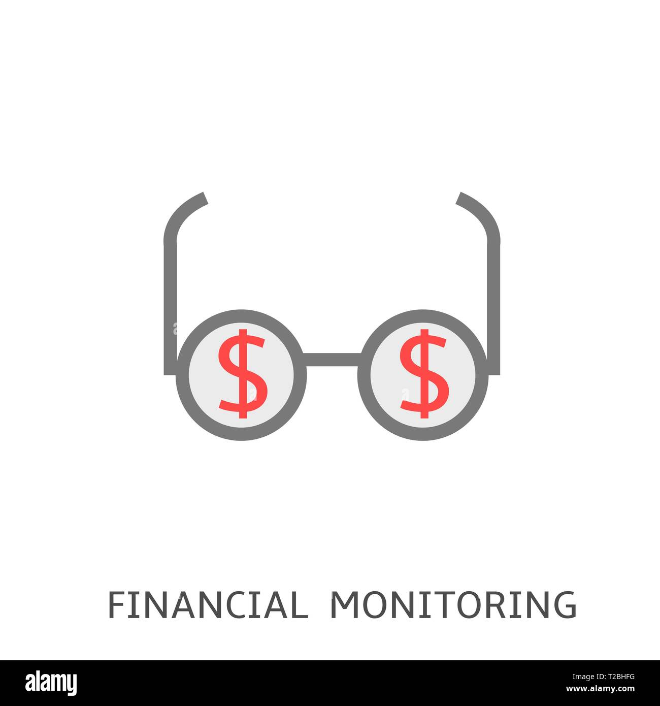 Financial monitoring. Glasses with dollar sings Vector illustration - Stock Vector