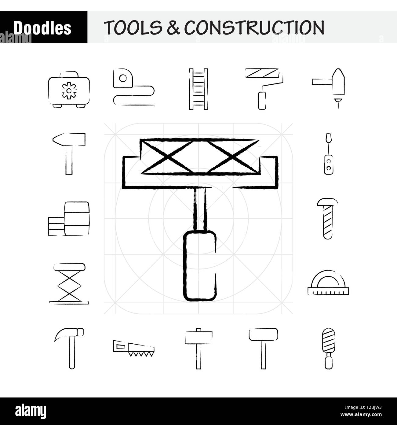 Tools And Construction Hand Drawn Icon Pack For Designers And Developers. Icons Of Box, Case, Cog, Construction, Construction, Measure, Tape, Tape Vec - Stock Image