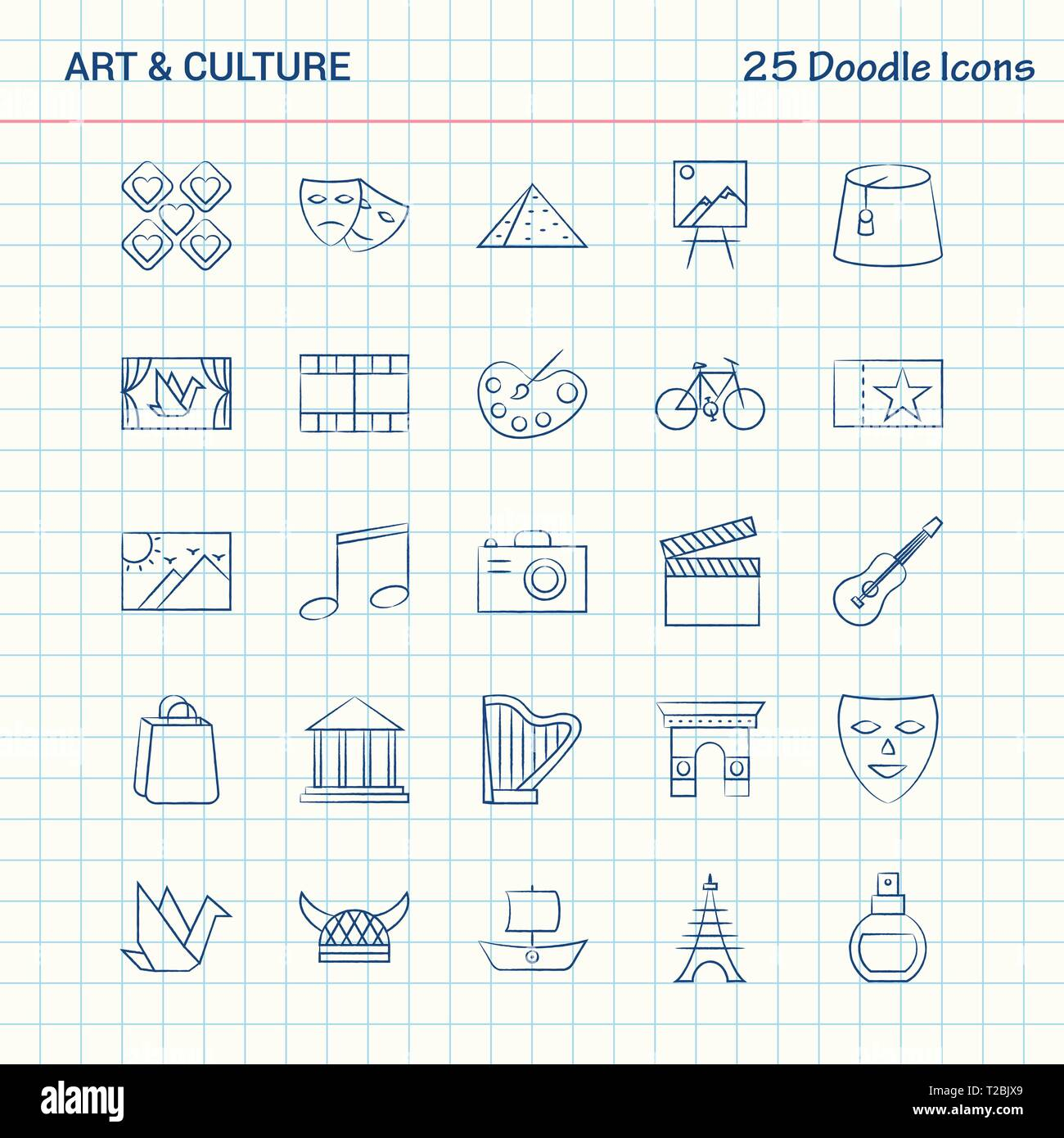 Art and Culture 25 Doodle Icons. Hand Drawn Business Icon set - Stock Vector